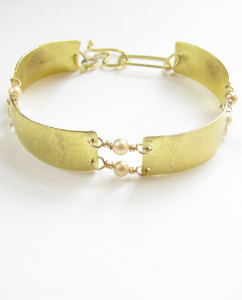 Etched Brass, Gold-Filled and Glass Pearl Bracelet