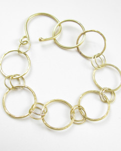 Textured Brass Chain Link Bracelet
