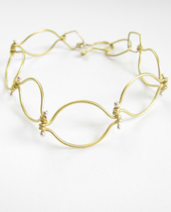 Brass and Sterling Silver Wavy Chain Hinged Link Bracelet
