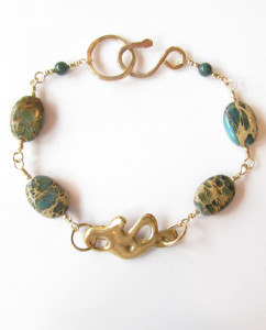 Aqua Terra Jasper, Bloodstone, Gold-Filled and Cast Bronze Bracelet