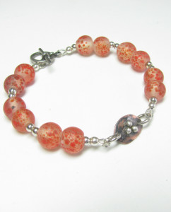 Etched and Antiqued Copper, Sterling Silver, and Frosty Vintage Glass Bracelet