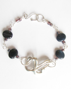 Abstract Cast Sterling Silver and Vintage Glass Bracelet