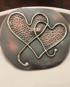 Antiqued Copper and Sterling Silver Entwined Hearts Brooch