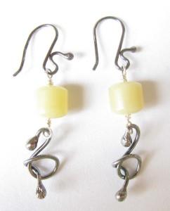Olive Jade & Antiqued Sterling Silver Earrings