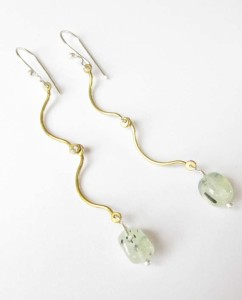 Prenite, Brass and Sterling Silver Hinged Earrings