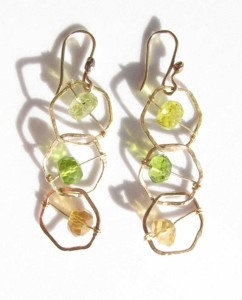 Gold-Filled and Faceted Mixed Peridot, Quartz and Topaz Stitched Earrings