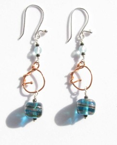 Blue Foil Glass, Copper, and Sterling Silver Earrings