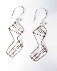 Sterling Silver and Antiqued Brass Stitched Earrings