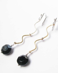 Vintage German Glass, Brass and Sterling Silver Squiggle Hinged Earrings
