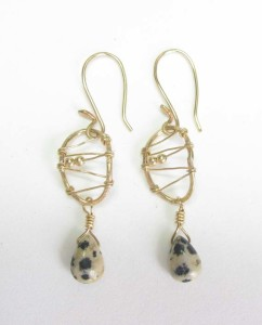 Dalmation Jasper and Gold-Filled Stitched Earrings