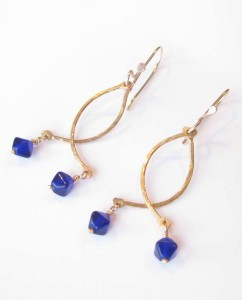 Blue Czechoslovakian Glass, Brass and Gold-Filled Earrings