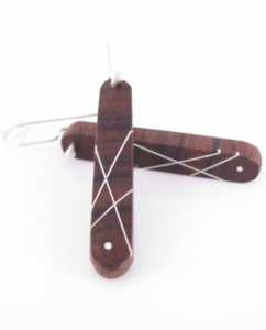 Long Brown Ebony and Silver Inlay Earrings