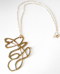 Cast White Bronze & Gold-Filled Necklace