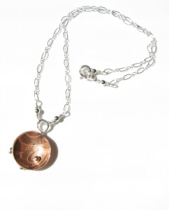 Etched Copper & Sterling Silver Necklace