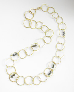 Brass Chain Necklace with Olive Freshwater Pearls
