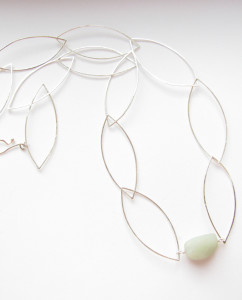 "Sterling Silver and New Jade ""Leaf"" Chain Necklace"