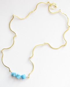 Blue Howlite, Brass and Sterling Silver Hinged Link Necklace