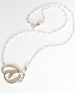 Abstract Sterling Silver Medallion Necklace