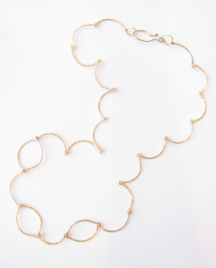 Brushed Brass and Sterling Silver Scalloped Hinged Chain Necklace