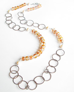 Antiqued Copper, Sterling Silver, Pearl and Vintage Glass Asymmetrical Chain Necklace