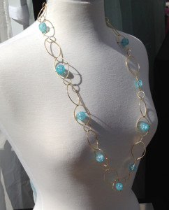 Brass and Vintage German Glass Leaf Chain Necklace