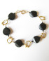Black Obsidian & Brass Bracelet with Gold-Filled Clasp