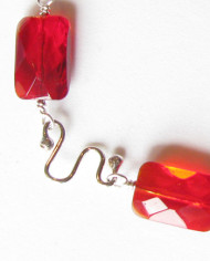 Red Czechoslovakian Glass and Sterling Silver Bracelet