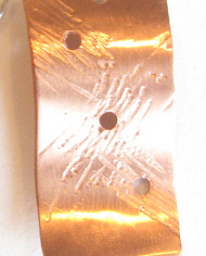Etched Rectangular Copper and Sterling Silver Earrings