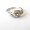Sterling Silver Abstract Ring with 14k Gold Balls, Size 5
