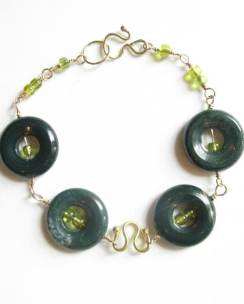 Fancy Green Jasper, Glass, Gold-Filled and Brass Bracelet