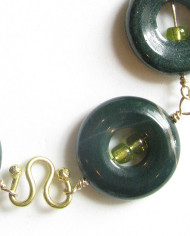 Fancy Green Jasper, Glass, Gold-Filled and Brass Bracelet