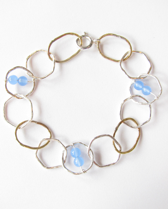 Sterling Silver, Brass and Blue Quartz Stitched Hexagon Bracelet