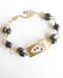 Onyx, Gold-Filled and Vintage Glass Etched and Stitched Double Bracelet