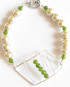 Stitched Sterling Silver, Glass Pearl, and Green Vintage Glass Bracelet