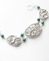 Abstract Cast Sterling Silver and Malachite Bracelet