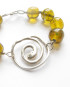 Abstract Cast Sterling Silver and Vintage Amber Glass Bracelet