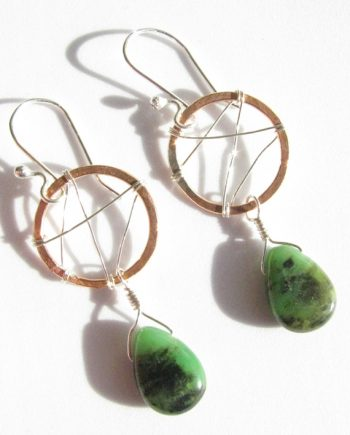 Chrysophrase, Copper and Sterling Silver Stitched Earrings