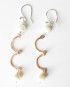 Mother of Pearl, Copper and Sterling Silver Hinged Earrings