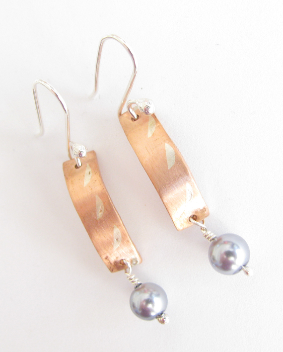 Copper and Sterling Silver Marriage-of-Metals Earrings with Gray Glass Pearls