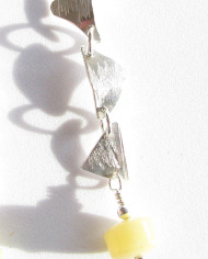Olive and Pineapple Jade and Textured Sterling Silver Cascade Earrings