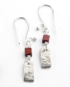 Australian Mookaite, Reticulated and Sterling Silver Earrings