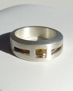 "Sterling Silver and Brass Geometric ""Hollow"" Ring"