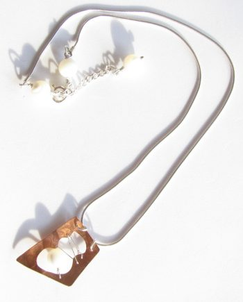 Etched and Stitched Copper, Sterling Silver and Mother of Pearl Necklace