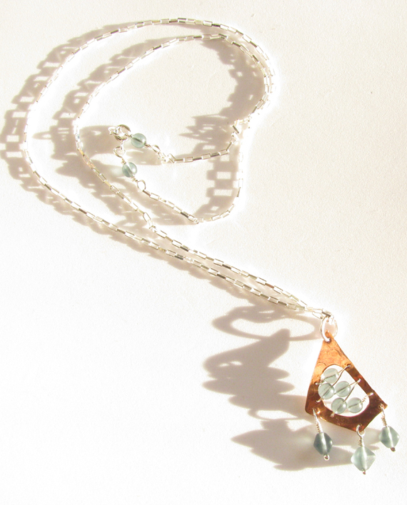 Etched Copper, Sterling Silver, and Czechoslovakian Glass Stitched Necklace