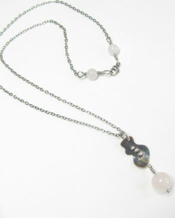 Etched and Antiqued Copper, Sterling Silver, and Rose Quartz Necklace