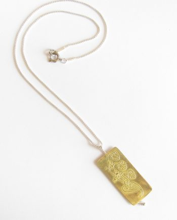 Etched Brass and Sterling Silver Floral Necklace
