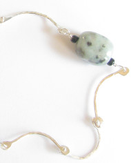 Raw Amazonite and Hammered Sterling Silver Hinged Necklace