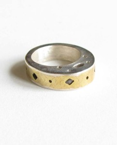 "Sterling Silver and Brass ""Hollow"" Ring"