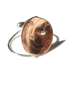 Etched Copper & Sterling Silver Ring with Offset Ball