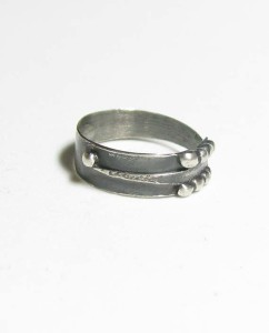 Antiqued Sterling Silver Arrow Dot Ring